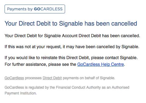 Direct Debit Email Sceenshot 2